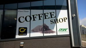 Digitally Printed Window Graphics produced and installed for Cafe Eto, located at Ice Arena Wales (Cardiff)
