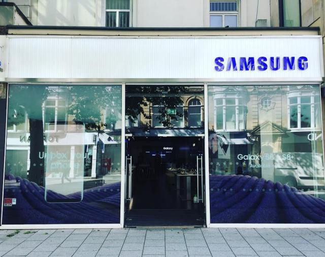 Window graphics installed yesterday at Cardiff, promoting the new Galaxy S8