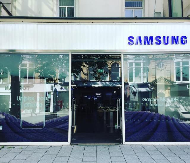 Digital print on optically clear. Graphics installed at one of Samsung's flagship stores in Cardiff, promoting the new Galaxy S8