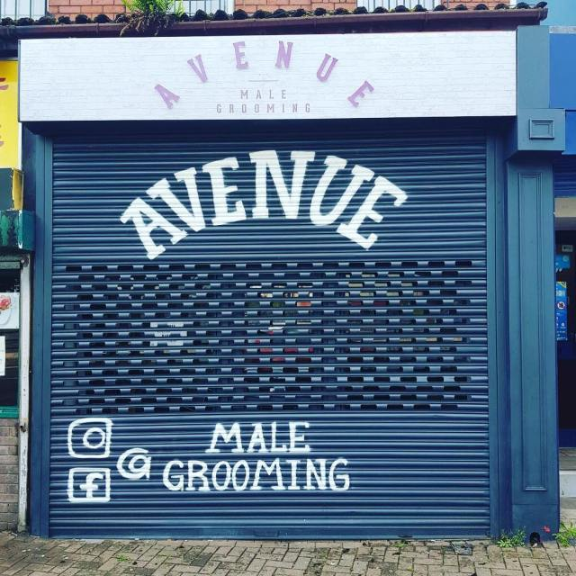 Stand off lettering on digitally printed vinyl flooded on dibond panels – shop sign for Avenue Male Grooming, barber shop