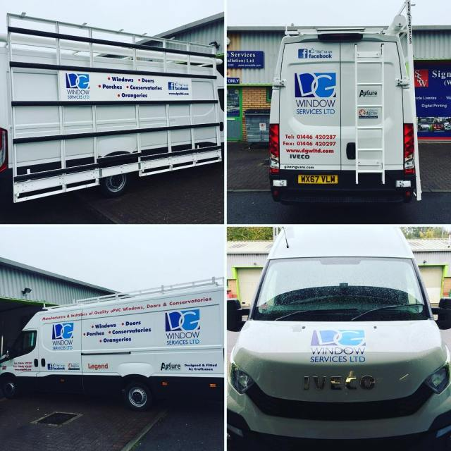 Great looking livery for DG Windows, manufacturer, supply and installation of UPVC windows, doors, porches, conservatories and orangeries around Cardiff