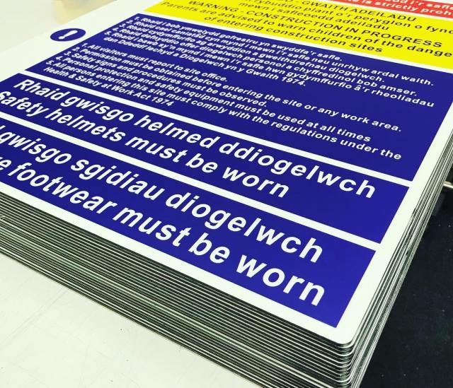 Bi-lingual site safety notice signs for Cardiff Council