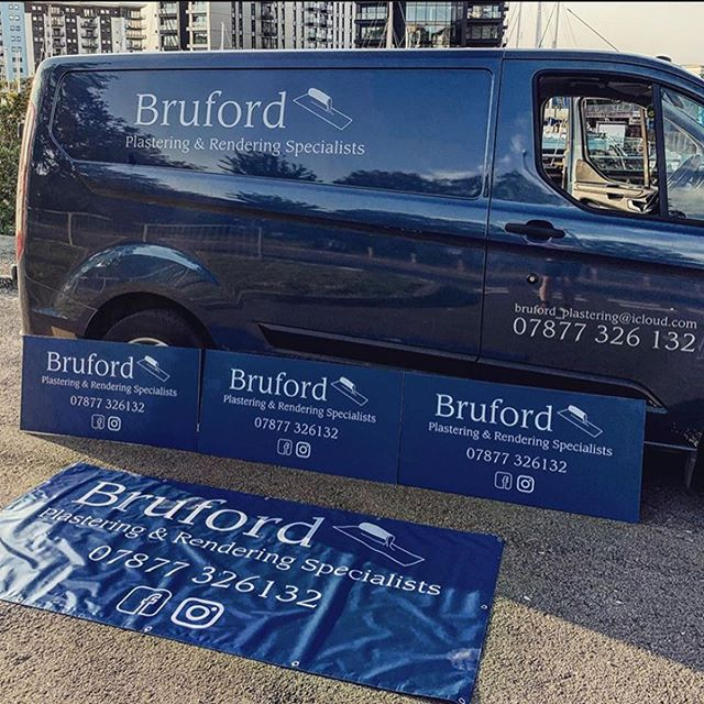 We supplied the complete package for @brufordplastering who was very pleased. Vehicle livery, site boards, banners and business cards. Thanks for your business!
