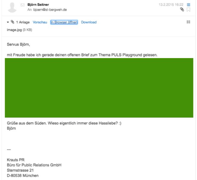 """Wirklich sehr nette Email von meinem Namens- und Professionsvetter Björn Seitner von Krauts PR mit der """"dezenten"""" Frage, wo ich denn meine Infos her hätte."""