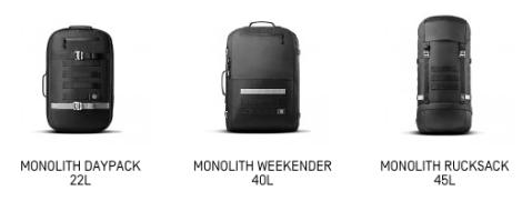 Monolith-Serie: Zusätzlich zum Duffle Bag gibt es das Daypack, den Weekender und einen Rucksack (Foto: Screenshot heimplanet.com)