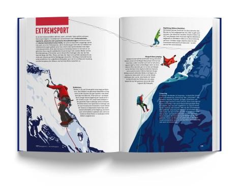 Illustration von den Extremsportarten der Alpen aus Das Alpenbuch