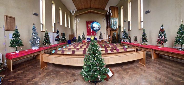 Wide angle photo of all Christmas tree in the festival by Kit Malthouse