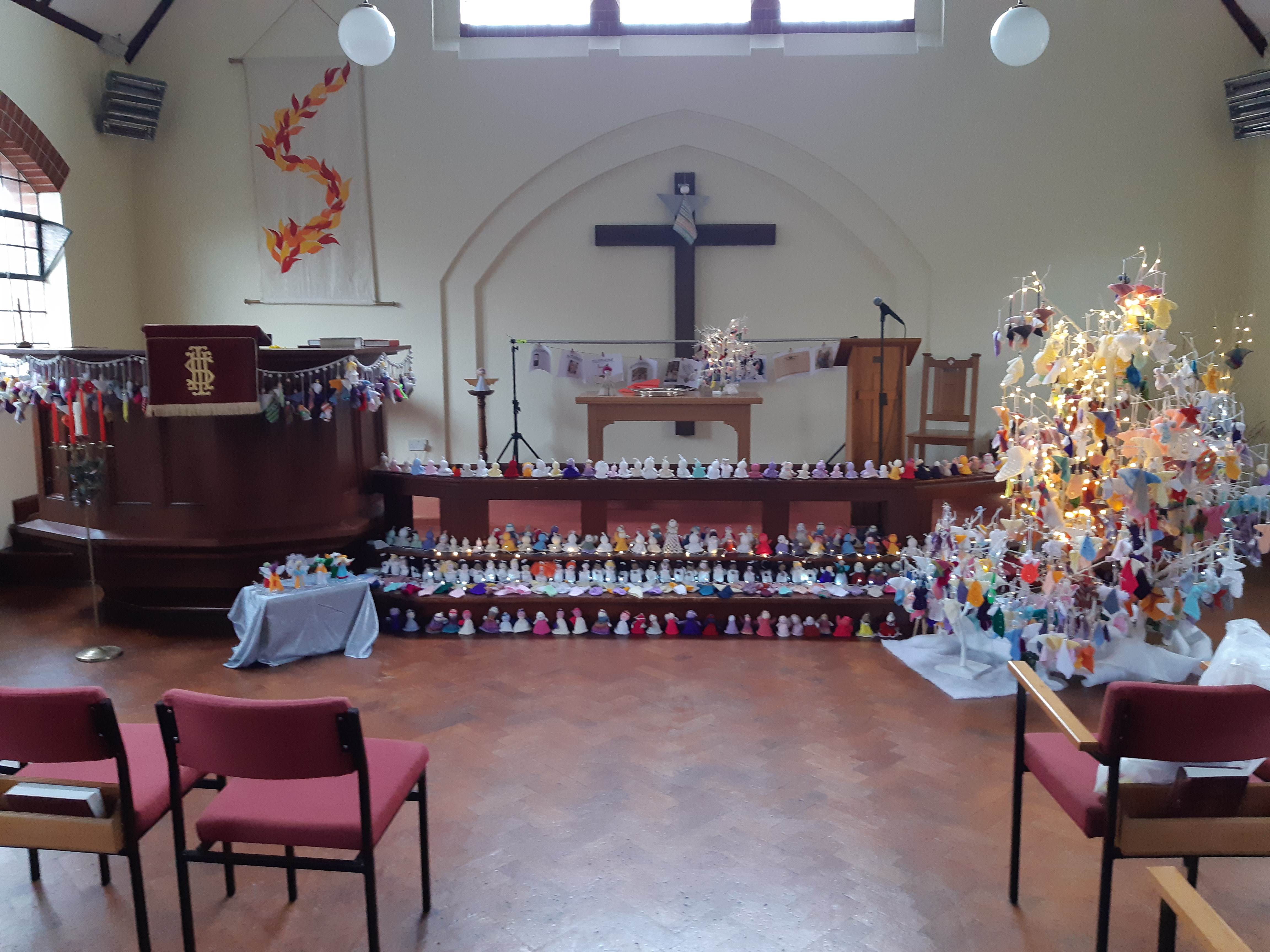 The Angels gathering Main Road Methodist Church preparing for their flight to spread the Good News to Tadley
