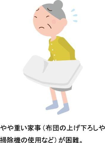 やや重い家事(布団の上げ下ろしや掃除機の使用など)が困難。