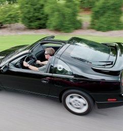 1990 1996 nissan 300zx rear above three quarter view in motion [ 2048 x 1340 Pixel ]