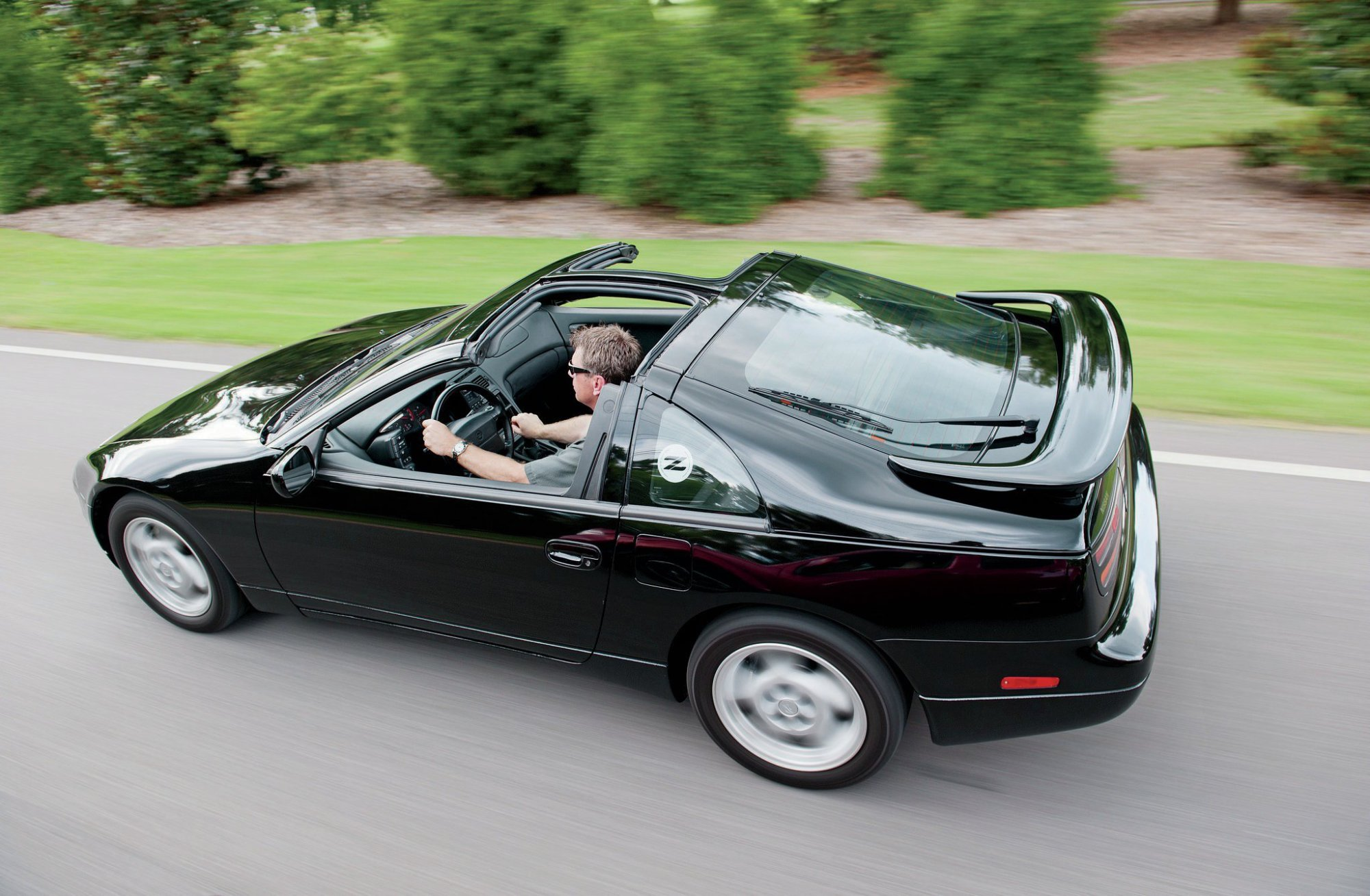 hight resolution of 1990 1996 nissan 300zx rear above three quarter view in motion