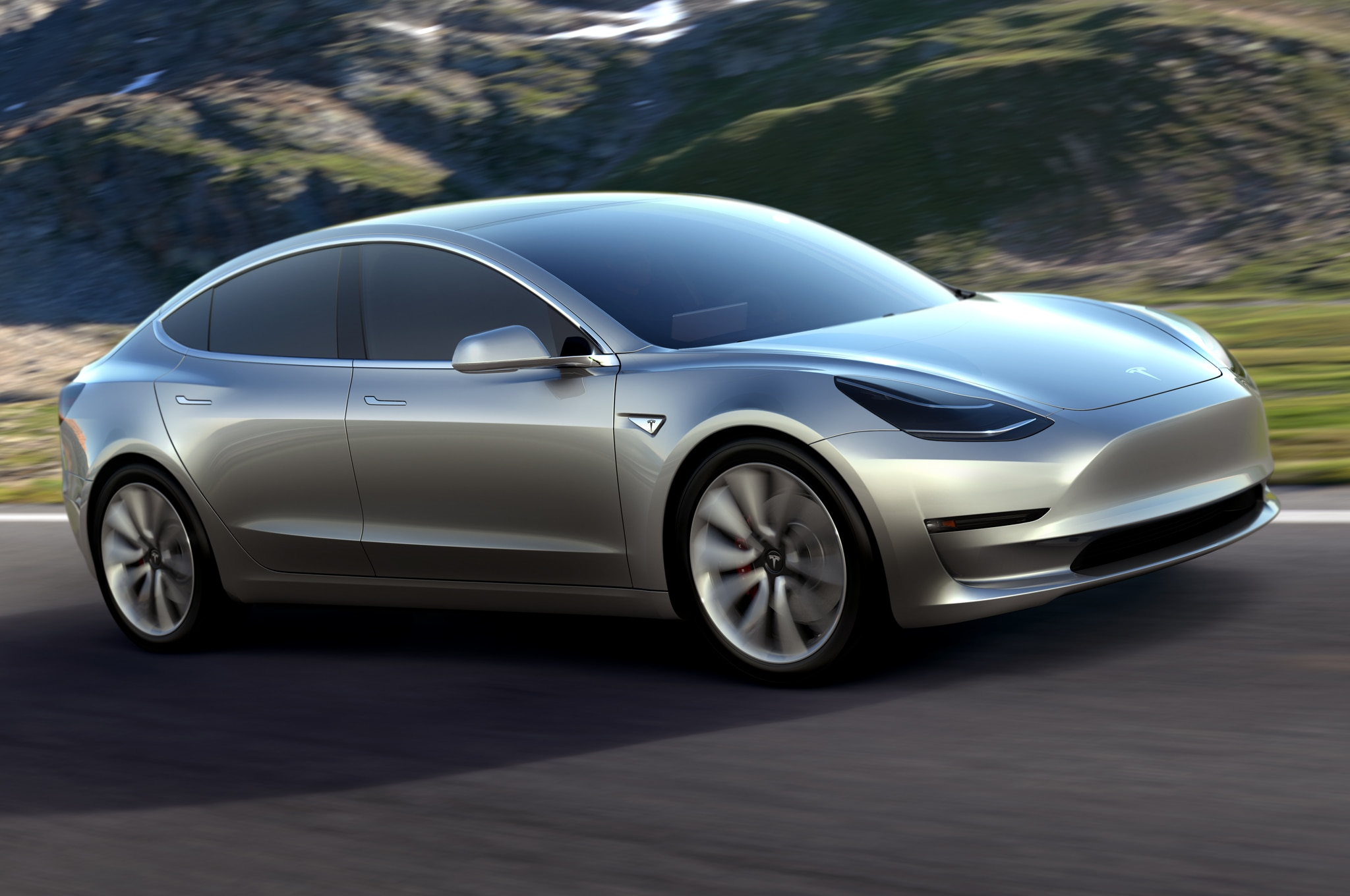 Tesla Model 3 in motion