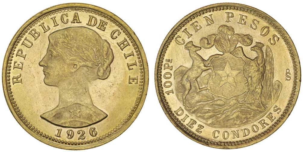 Moneta 100 Peso Cile Oro 1926 Prezzo KM-170 Fr-54