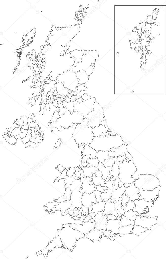 Cartina Muta Regno Unito Colorata