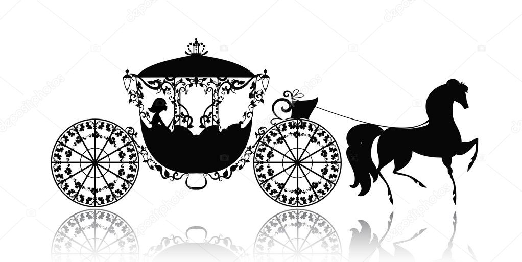 Vintage silhouette of a horse carriage — Stock Vector