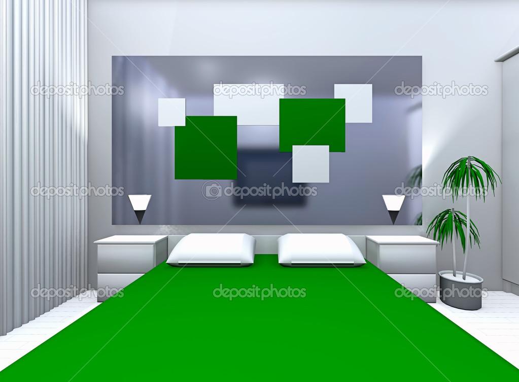 grijsgroene slaapkamer  Stockfoto  irogova 35414073