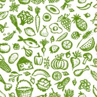 Healthy food seamless pattern, sketch for your design ...