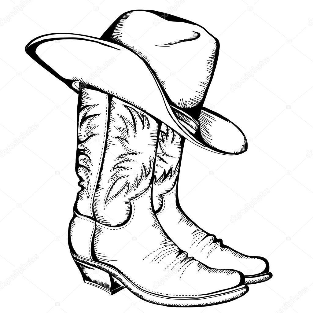 Cowboy Boots And Hatctor Color Illustration Isolated