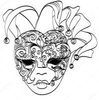 Vektorskizze venezianischer Maske. Karnevalsmaske aus ...