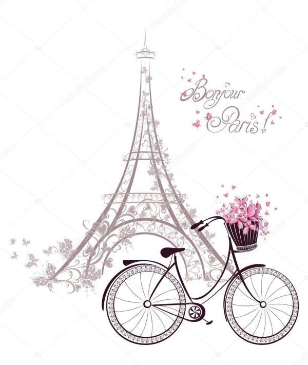 bonjour paris text with tower eiffel