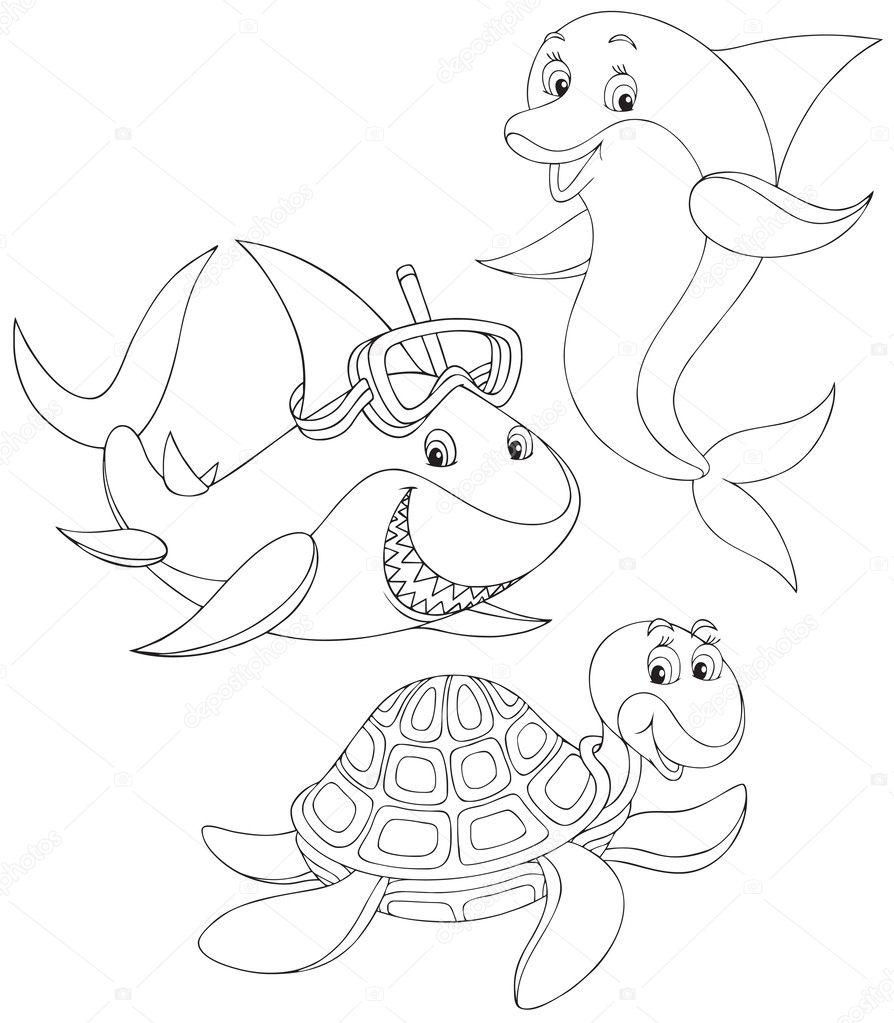 Shark, turtle and dolphin — Stock Vector © AlexBannykh