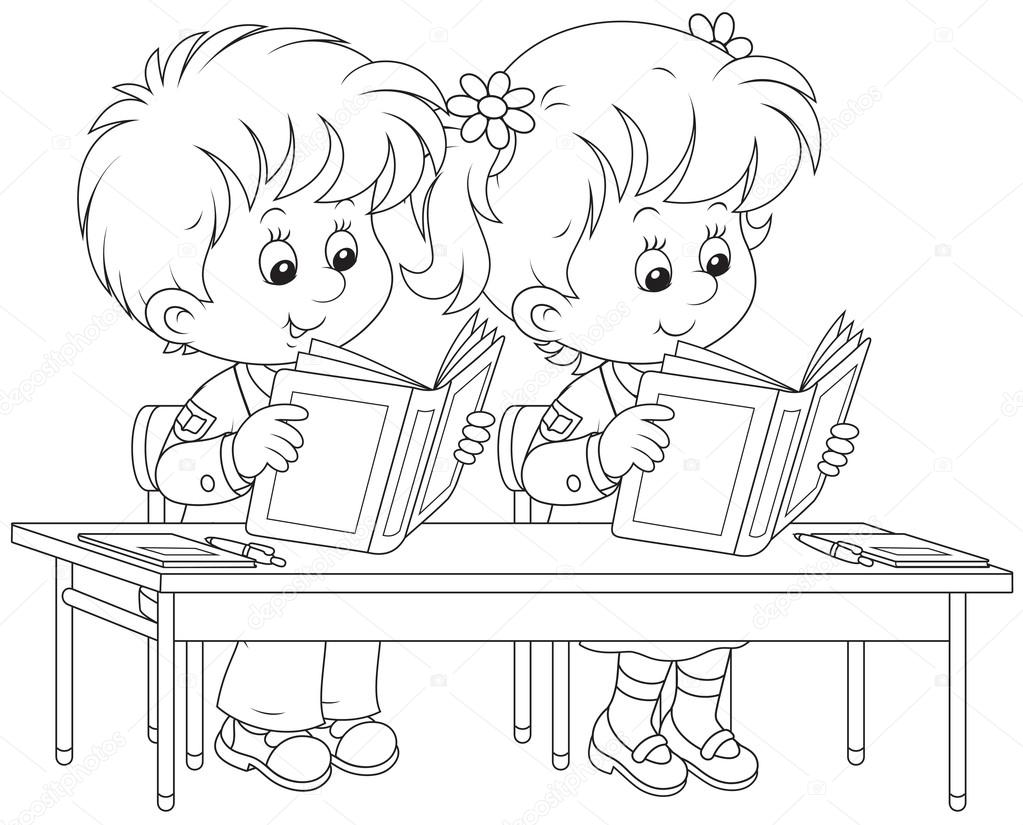 Schoolchildren read at a lesson — Stock Vector