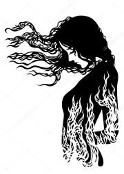 silhouette of girl with flowing