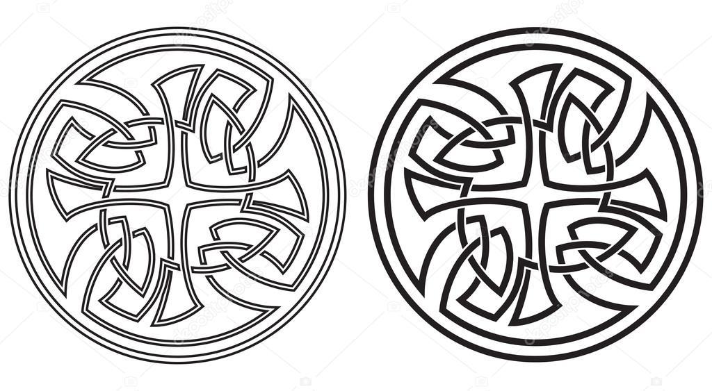Celtic vector round ornament. Set — Stock Vector