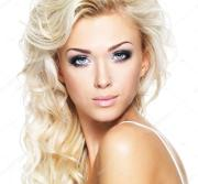 beautiful woman with long blond