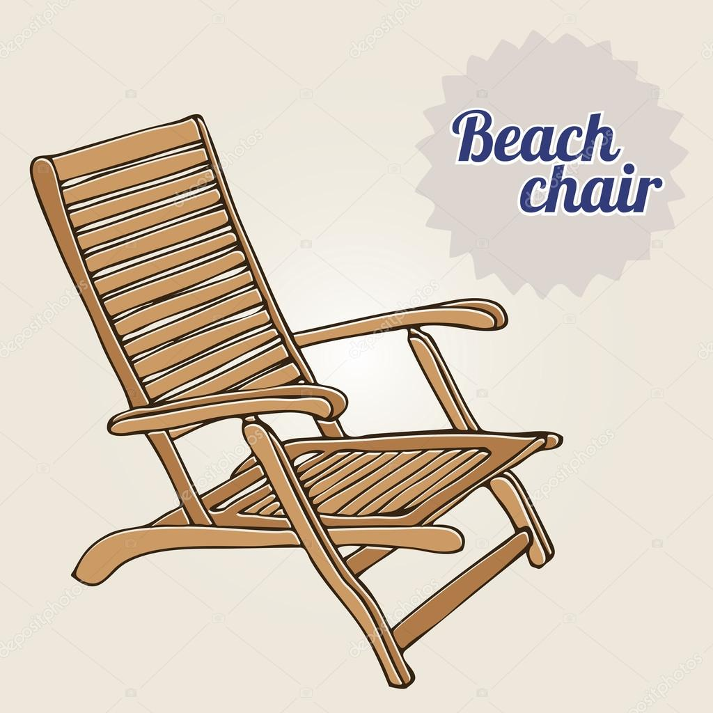 antique beach chair folding chairs bunnings vintage illustration  stock vector