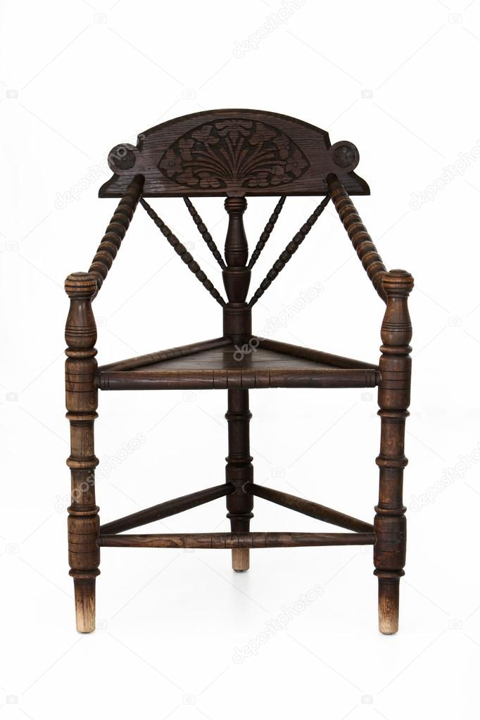 wooden corner chair wine barrel rocking plans antique stock photo c farina6000 22546487 with three legs isolated on white by