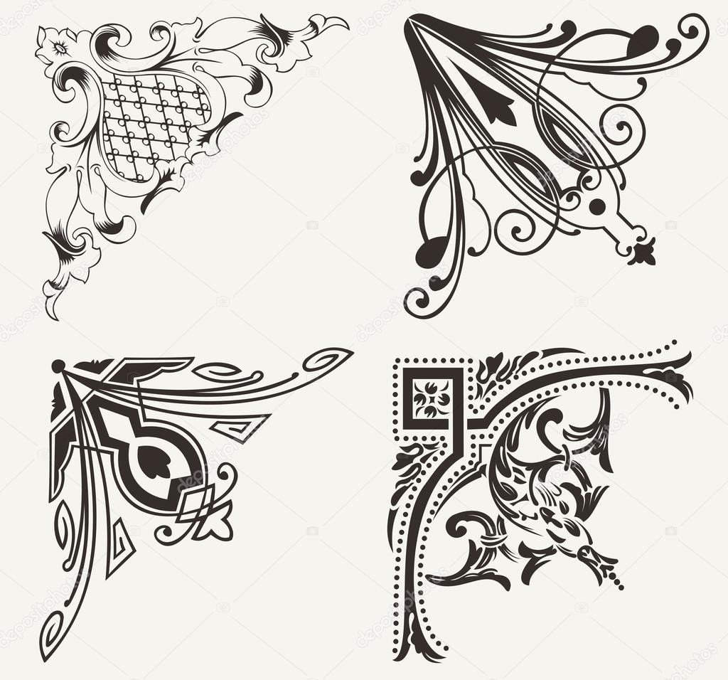 Set Of Four Hogh Ornate Corners Elements Of Design
