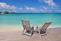 Tropical beach chairs  Stock Photo  .shock #31572559