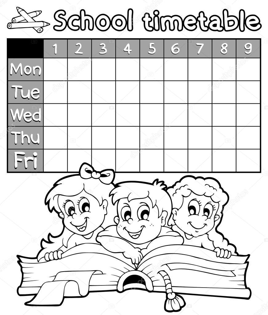 Coloring book school timetable 2 — Stock Vector © clairev
