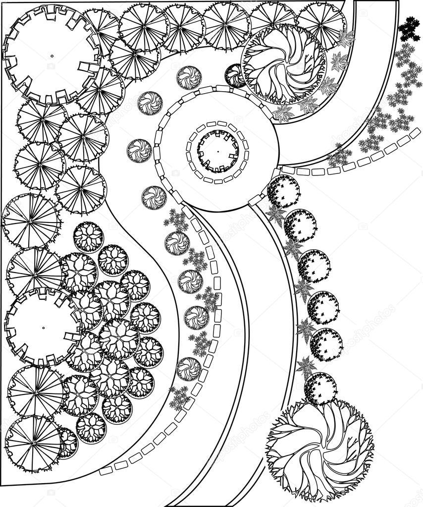 Plan of garden with plant symbols — Stock Vector © jelen80