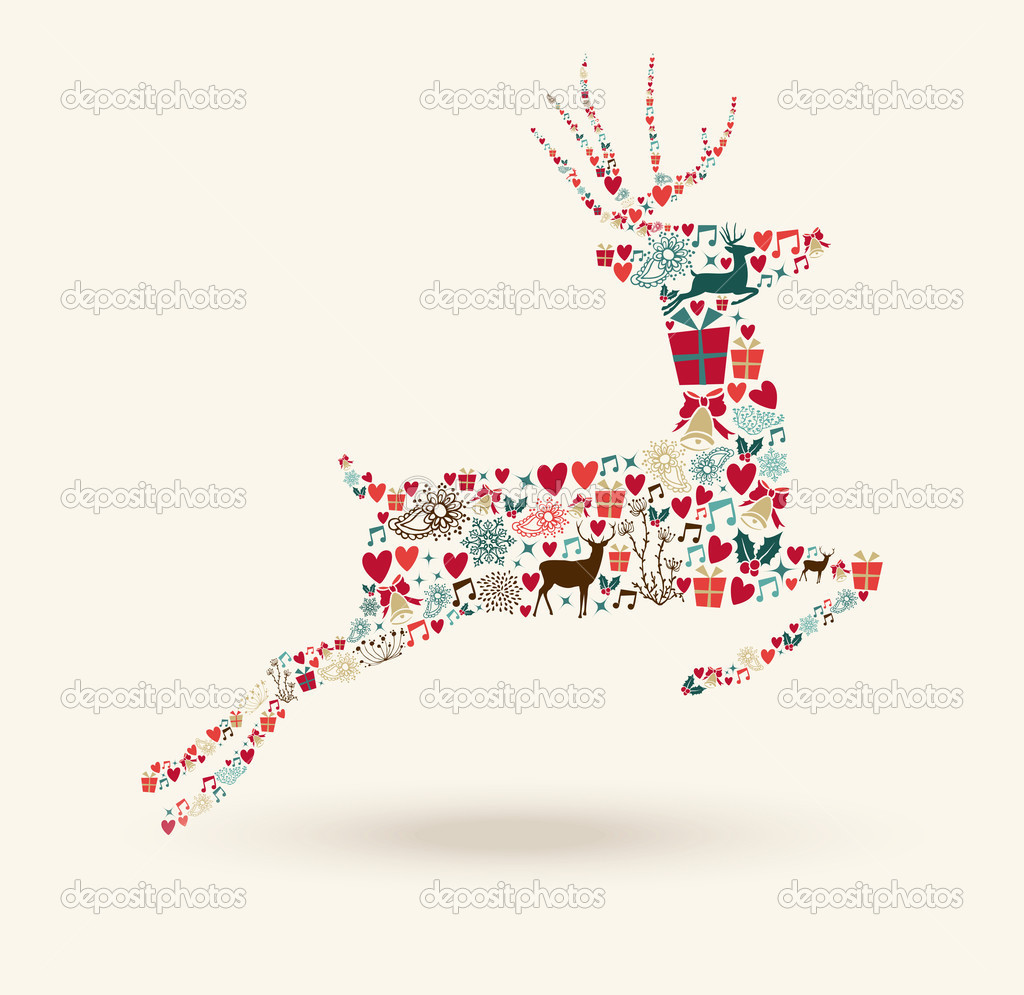 Merry Christmas Jump Deer Illustration