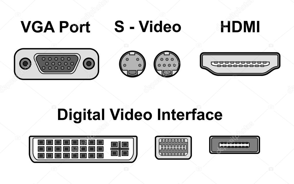 Video ports — Stock Vector © ngaga35 #31012383
