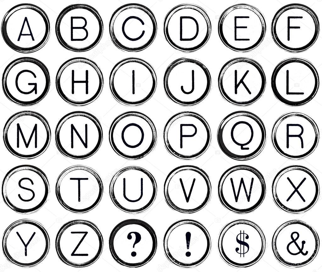Grunge Alphabet from Vintage Typewriter Keys — Fotos de