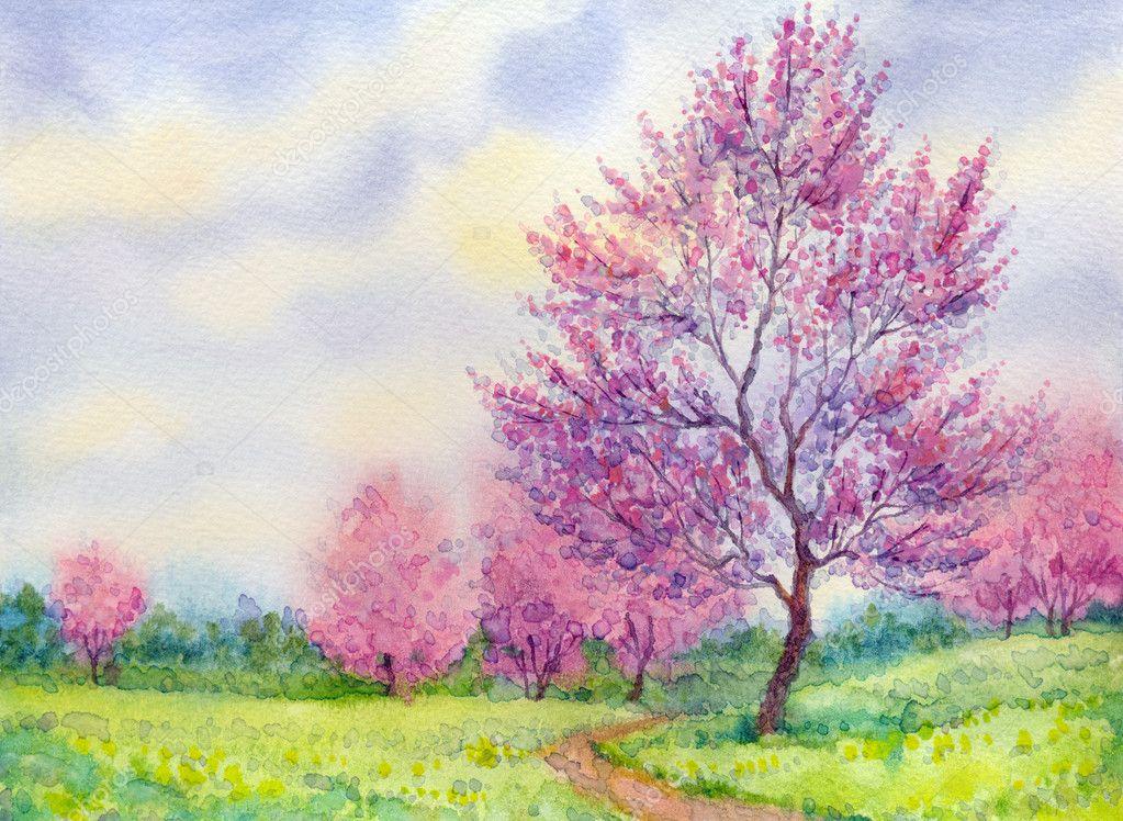 Foto di paesaggi con alberi  paesaggio di primavera acquerello albero in fiore in un campo