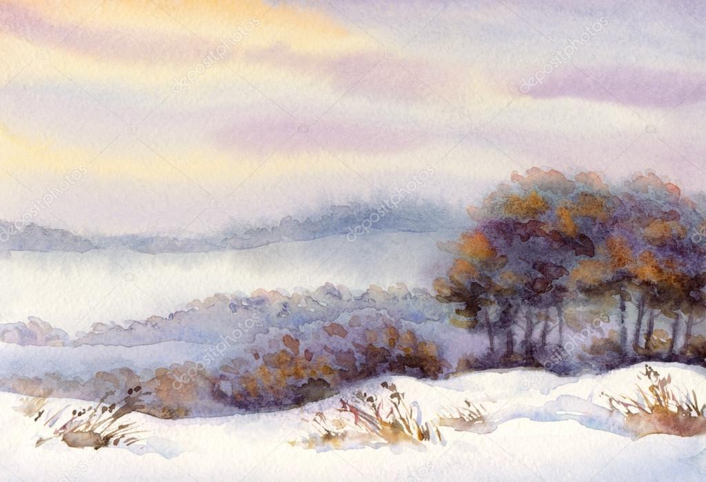 paesaggio invernale ad acquerello alberi sulla collina  Foto Stock  Marinka 43451353
