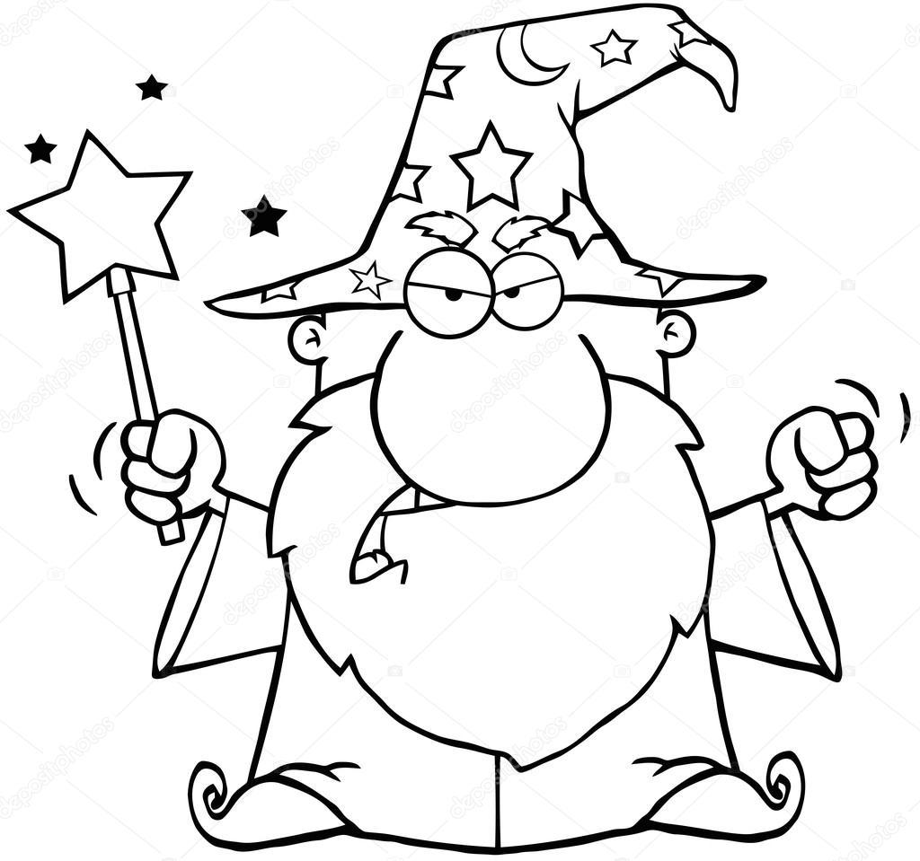 Contorneado a enojado mago saludando con varita mágica