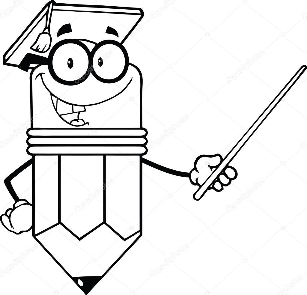 énoncés souriant professeur crayon avec chapeau diplômé