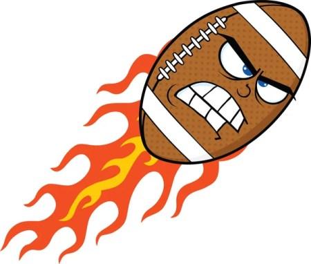 Злой пламенный американский футбол мяч мультипликационный персонаж — стоковое фото #31056837