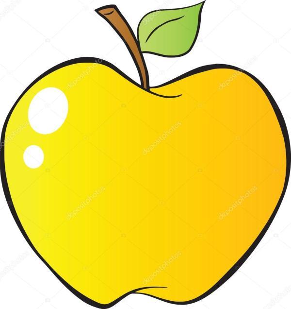cartoon yellow apple in gradient