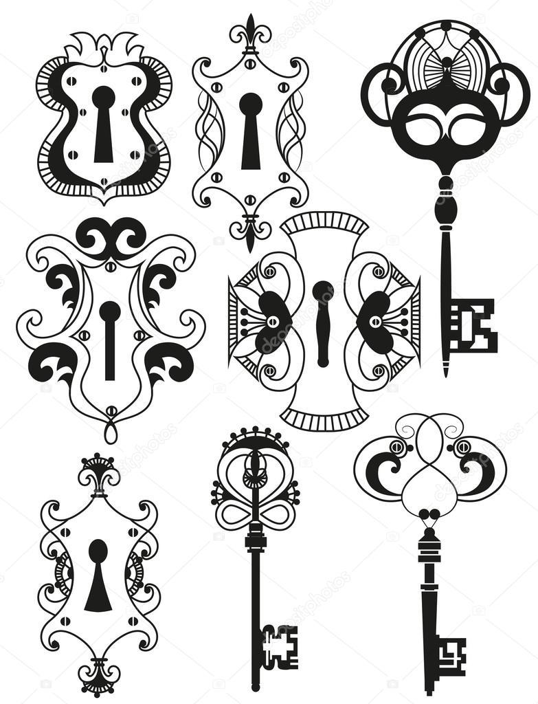 Vector set di chiavi antiche e fori — Vettoriali Stock
