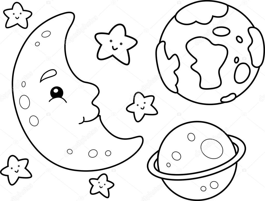 kolorowanki kosmos — Zdjęcie stockowe © lenmdp #48930131