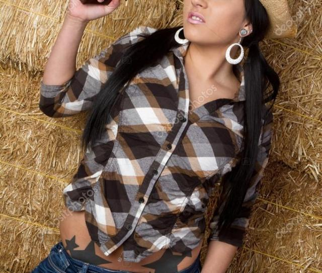 Sexy Country Girl With Pistol Stock Photo