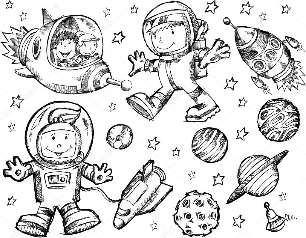 Outer Space Sketch Doodle Vector Set