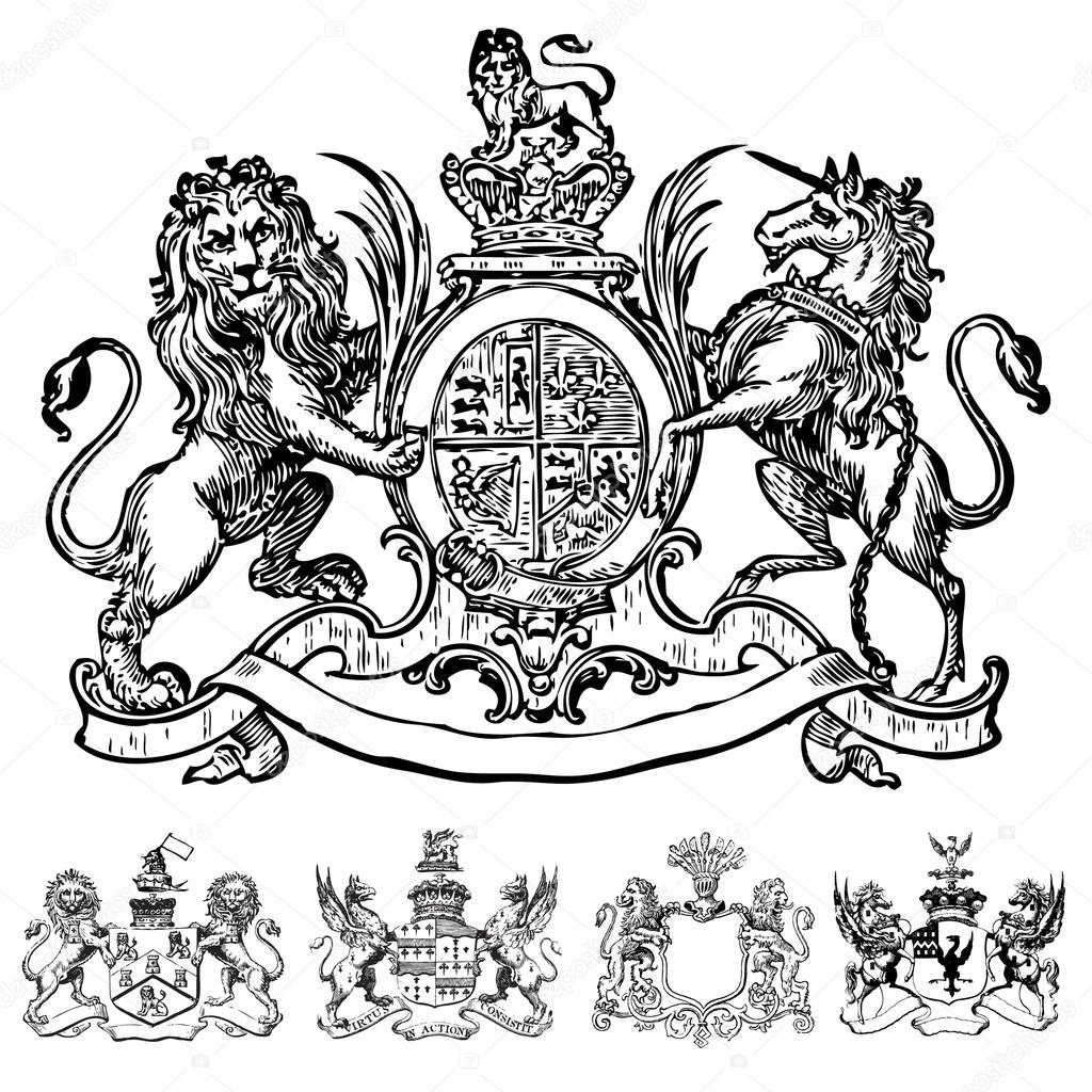 hight resolution of vector clipart of victorian lion crests stock vector