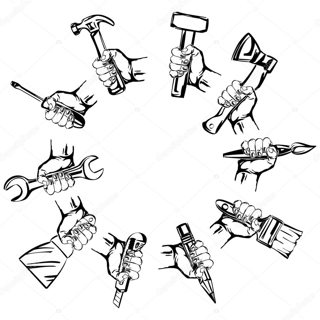 Hand Holding Tool Set Vector